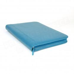 Conférencier zip A4 cuir Bleu-turquoise Beaubourg