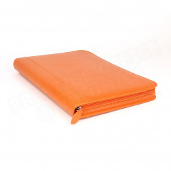 Conférencier zip A4 cuir Orange Beaubourg
