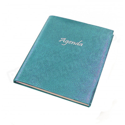 Agenda 17x24 cuir Bleu-turquoise Beaubourg