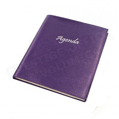 Agenda 17x24 cuir Violet Beaubourg