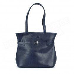 Sac Cabas Shopping Amélie cuir Bleu marine Beaubourg