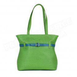 Sac Cabas Shopping Amélie cuir Vert anis Beaubourg