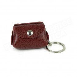 Bloc-notes porte clés cuir Rouge-bordeaux Beaubourg