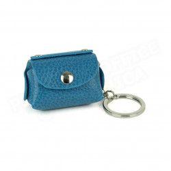 Bloc-notes porte clés cuir Bleu-turquoise Beaubourg