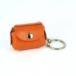 Bloc-notes porte clés cuir Orange Beaubourg