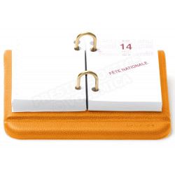 Bloc éphémeride cuir Orange Beaubourg