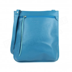 Grande Besace cuir Bleu turquoise Beaubourg