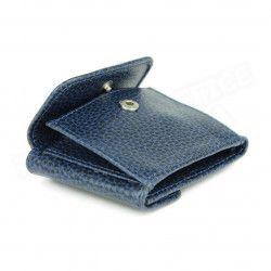 Porte-monnaie billets et cartes cuir Bleu-marine Beaubourg