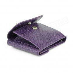 Porte-monnaie billets et cartes cuir Violet Beaubourg