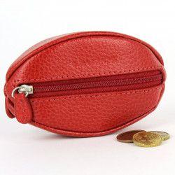Porte-monnaie Grain de Café cuir rouge Beaubourg