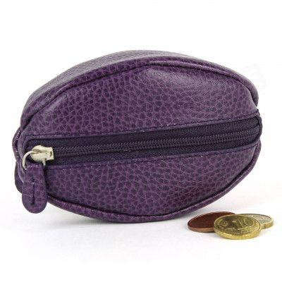 Porte-monnaie Grain de Café cuir violet Beaubourg