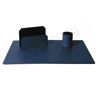 Parure de bureau Classic cuir Bleu-marine Beaubourg