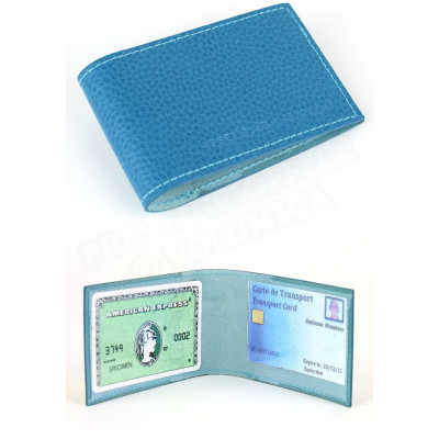 Porte-carte Pass/Bus/Metro cuir Bleu-turquoise Beaubourg