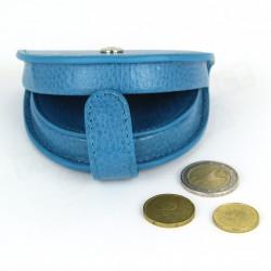 Porte-monnaie Cuvette cuir Bleu-turquoise Beaubourg