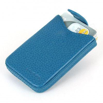Porte cartes de visite cuir Bleu-turquoise Beaubourg