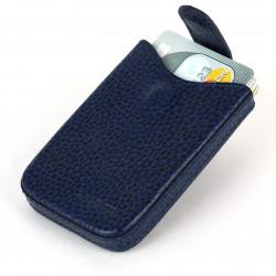 Porte cartes de visite cuir Bleu-marine Beaubourg