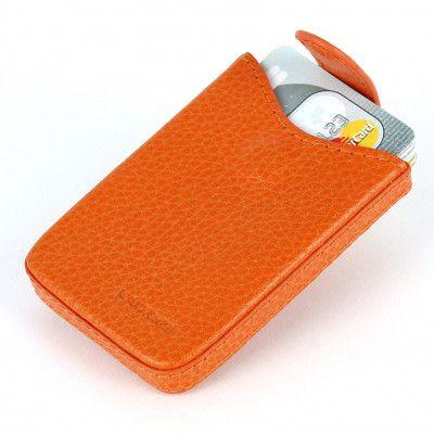 Porte cartes de visite cuir Orange Beaubourg