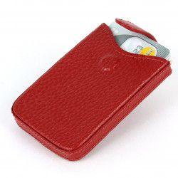 Porte cartes de visite cuir Rouge Beaubourg