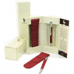 Stylo avec étui assorti cuir Rouge Beaubourg