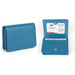 Etui cartes de visite cuir Bleu-turquoise Beaubourg