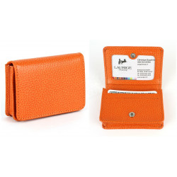 Etui cartes de visite cuir Orange Beaubourg
