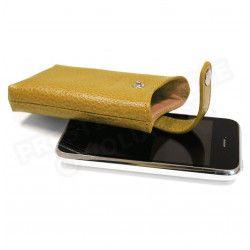 Etui iphone cuir Gold Beaubourg