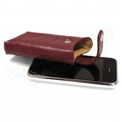 Etui iphone cuir Rouge-bordeaux Beaubourg