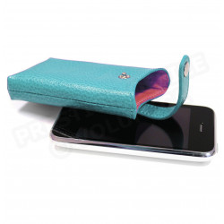 Etui iphone cuir Bleu-turquoise Beaubourg
