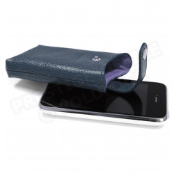 Etui iphone cuir Bleu-marine Beaubourg