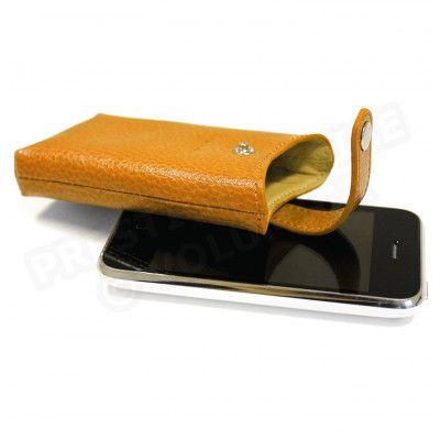 Etui iphone cuir Orange Beaubourg