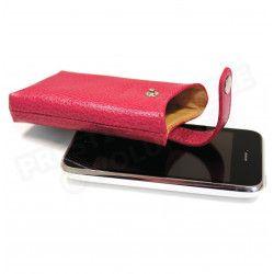Etui iphone cuir Rose-fuchsia Beaubourg