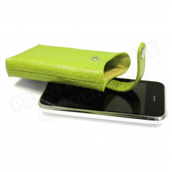 Etui iphone cuir Vert-anis Beaubourg