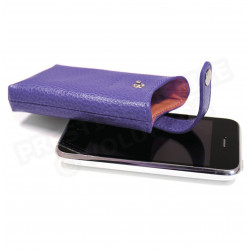 Etui iphone cuir Violet Beaubourg