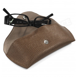 Etui lunettes rigide cuir Marron Beaubourg