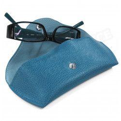 Etui lunettes rigide cuir Bleu-turquoise Beaubourg