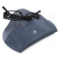 Etui lunettes rigide cuir Bleu-marine Beaubourg