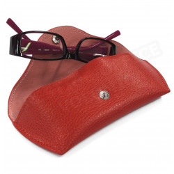 Etui lunettes rigide cuir Rouge Beaubourg