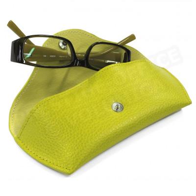 Etui lunettes rigide cuir Vert-anis Beaubourg