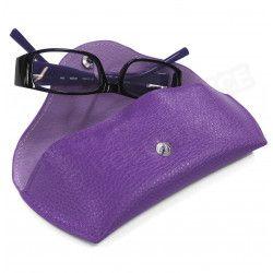 Etui lunettes rigide cuir Violet Beaubourg