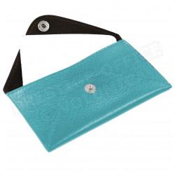 Etui enveloppe carte-visite cuir Bleu-turquoise Beaubourg