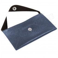 Etui enveloppe carte-visite cuir Bleu-marine Beaubourg