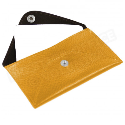 Etui enveloppe carte-visite cuir Orange Beaubourg