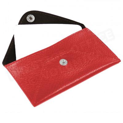 Etui enveloppe carte-visite cuir Rouge Beaubourg