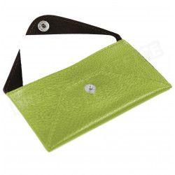 Etui enveloppe document cuir Vert-anis Beaubourg