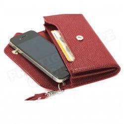 Enveloppe smarphone 2 soufflets cuir Rouge-bordeaux Beaubourg