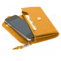 Enveloppe smarphone 2 soufflets cuir Orange Beaubourg
