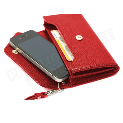 Enveloppe smarphone 2 soufflets cuir Rouge Beaubourg