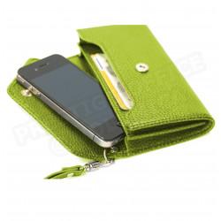 Enveloppe smarphone 2 soufflets cuir Vert-anis Beaubourg