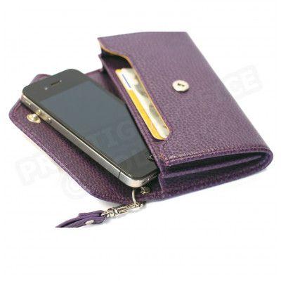 Enveloppe smarphone 2 soufflets cuir Violet Beaubourg