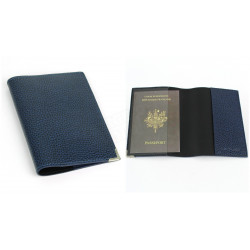 Etui passeport cuir Bleu-marine Beaubourg